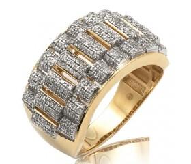 10K DIAMOND ROLEX LINK MENS RING (0.80CT)