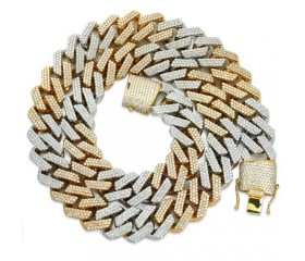 "10K DIAMOND TWO TONE SQUARE LINK MIAMI CUBAN CHAIN - 24"" - 17MM (31.32CT)"