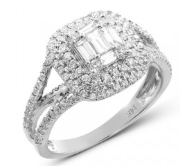 14K Baguette Diamond Bridal Ring with Double Halo (1.00ct)