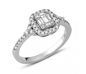 14K Diamond Bridal Baguette Ring with Halo (0.50ct)