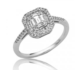 14K Baguette Diamond Bridal Ring with Halo (0.55ct)