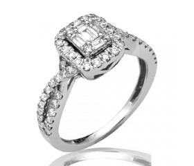 14K Diamond Baguette Bridal Ring with Halo (0.85ct)