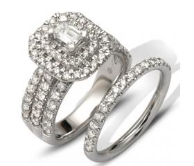 14K BAGUETTE DIAMOND BRIDAL SET - DOUBLE EMERALD HALO (2.25CT)