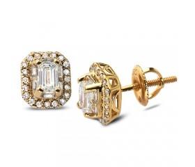 14K Emerald Baguette Halo Diamond Earrings (1.00ct)
