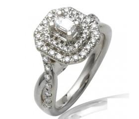 14K BAGUETTE DIAMOND BRIDAL RING DOUBLE HALO (1.00CT)