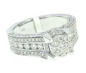14K Diamond Cluster Halo Engagement Ring 1.10ct