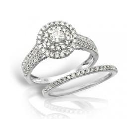 14K Diamond Bridal Set with Double Round Halo (1.00CT)