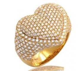 14K DIAMOND BUBBLE HEART RING (3.00CT)
