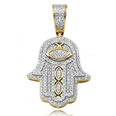 10K Diamond Hamsa Pendant (0.50ct)