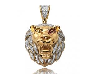 10K Diamond Lion Head Pendant (0.50ct)