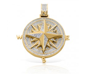 10K Diamond 3-D Compass Pendant (0.50ct)