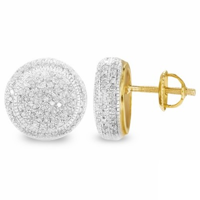 10K Diamond Disc Earrings (1.25ct)