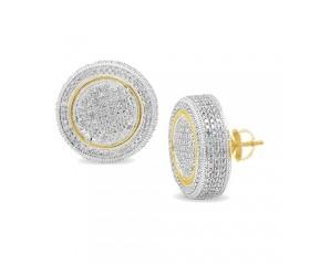 10K Diamond Disc Earrings