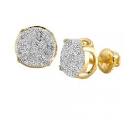 10K Diamond Concave Disc Earrings (0.30ct)