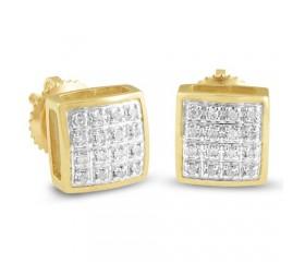 10K Diamond Square Dome Earrings