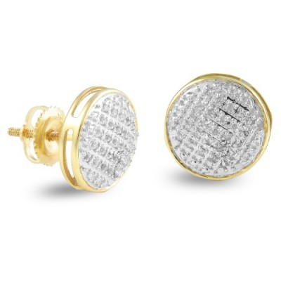 10K Diamond Round Dome Earrings