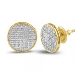 10K Diamond Round Flat Earrings