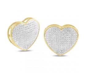 14K Diamond Heart Dome Earrings