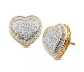 14K Diamond 3-D Heart Shaped Earrings (0.20ct)