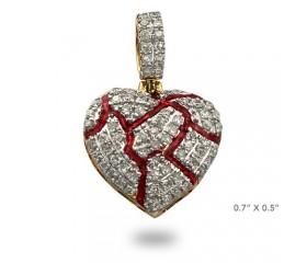 10K DIAMOND BROKEN HEART PENDANT - RED ENAMEL CRACKS (0.25CT)