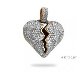 10K DIAMOND BROKEN HEART PENDANT - HOLLOW PUFFED - RED ENAMEL (0.50CT)