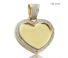 10K DIAMOND MICROPAVE HEART SHAPED MEMORY PENDANT (0.45CT)