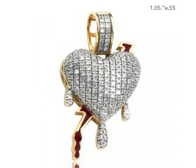 10K DIAMOND DRIPPING HEART PENDANT - RED ENAMEL LIGHTNING BOLT (0.45CT)