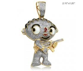 10K DIAMOND CARTOON BABY WITH GUN PENDANT (1.00CT)