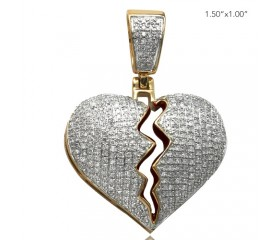 10K DIAMOND BROKEN HEART PENDANT - RED ENAMEL INTERIOR (1.05CT)