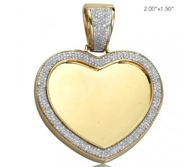 10K DIAMOND MICROPAVE HEART SHAPED MEMORY PENDANT (0.85CT)