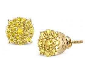 10K Yellow Diamond Luna Cluster Earrings (0.40ct - 0.65ct)