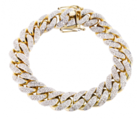 14K Iced Out Cuban Bracelet