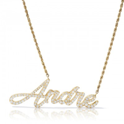 14kt Customizable Gold and Diamond Cursive Name Necklace