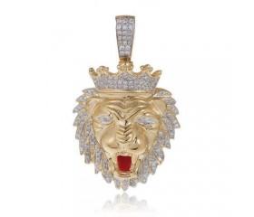 10K Diamond Lion's Head Pendant (0.75ct)
