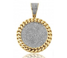 10K Diamond Face Medallion with Miami Cuban Border (0.65ct)