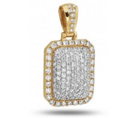 10K 3-D Dome Diamond Dogtag Pendant (2.00ct - 3.75ct)