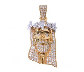 14K Diamond Jesus with Stars Pendant (3.02ct)