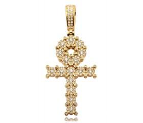 14K Fleur Design Ankh Cross Pendant (1.50ct)