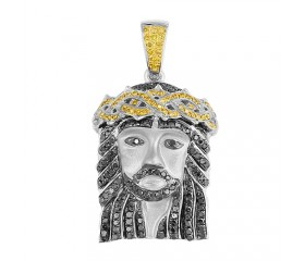 10K Yellow & Black Diamond Jesus Pendant (1.10ct)