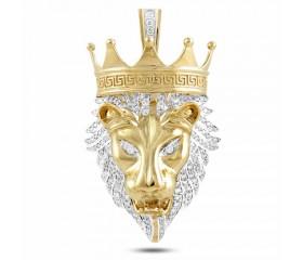 10K Crown Lion Head Pendant (1.35ct)