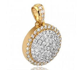 10K Diamond 3-D Dome Medallion Pendant (1.65ct - 3.25ct)