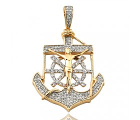 14K Diamond Anchor Jesus Pendant (0.75ct)