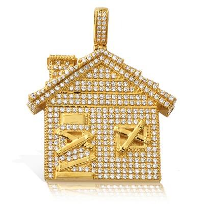 10K Diamond Trap House Pendant (2.35ct)