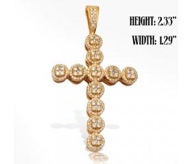 14K Diamond Cluster Cross Pendant (2.25ct)