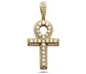 14K Diamond Ankh Pendant (3.50ct)
