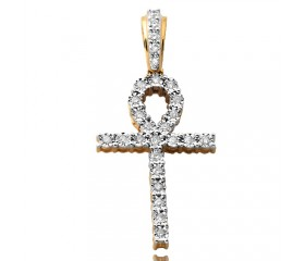 10K Diamond Illusion Ankh Cross (0.35ct)