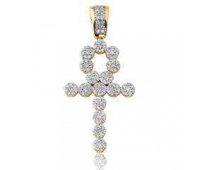 10K Diamond Round Cluster Ankh Pendant (0.75ct)