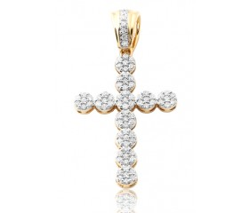 10K Diamond 3D Cross Pendant (0.40ct)