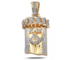 14K Diamond Miami Cuban Jesus Pendant (3.00ct)