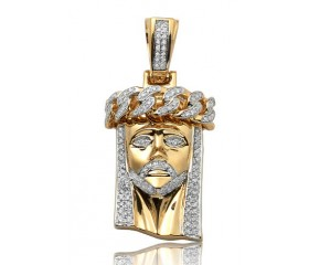 14K Diamond Miami Cuban Jesus Pendant with Solid Back (0.50ct)